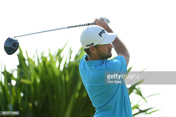 Oliver Farr of Wales tees off on the 1st hole during day two of the NBO Golf Classic Grand Final at Al Mouj Golf on November 3 2016 in Muscat Oman