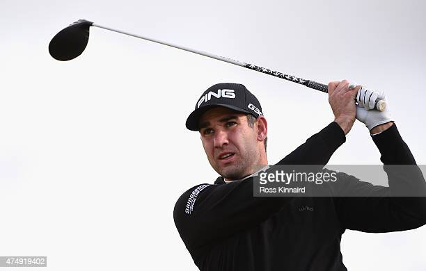 Oliver Farr of Wales tees off on the 8th hole during the First Round of the Dubai Duty Free Irish Open Hosted by the Rory Foundation at Royal County...