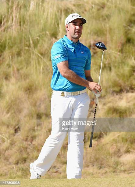 Oliver Farr of Wales watches his tee shot on the sixth hole during the second round of the 115th US Open Championship at Chambers Bay on June 19 2015...