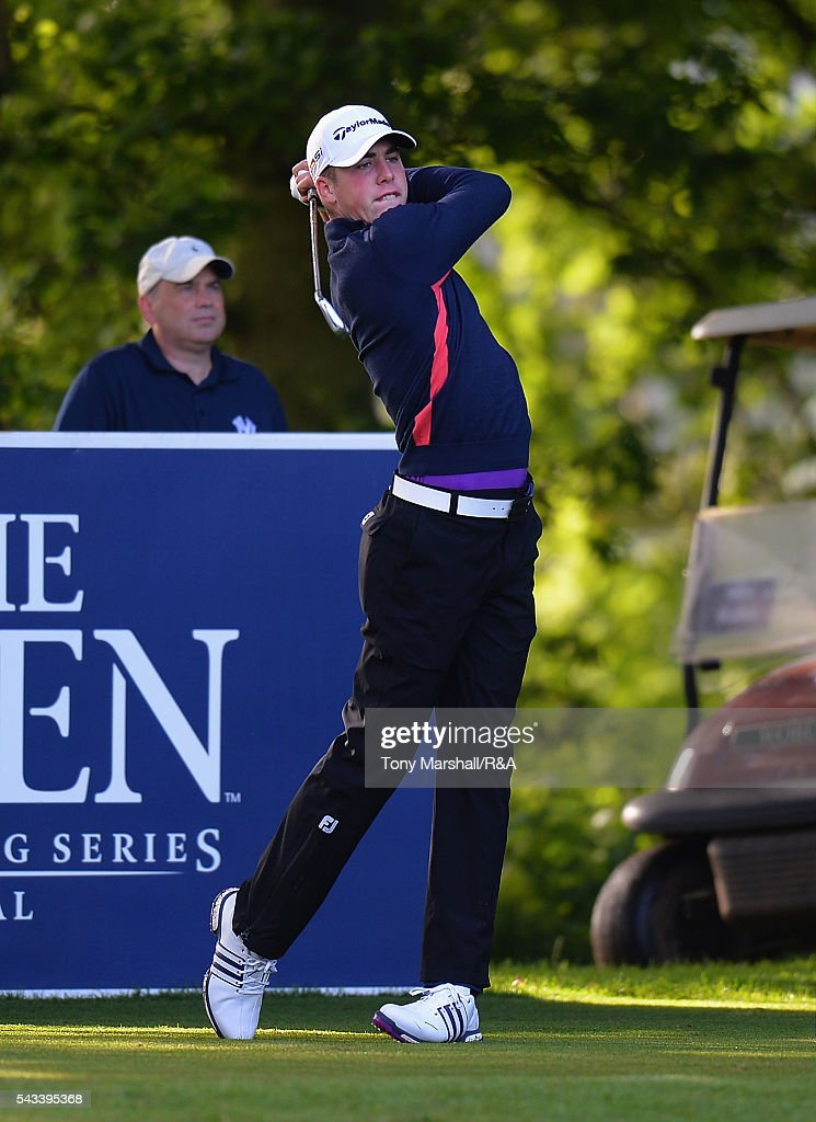 Oliver Farrell (A) of Evesham plays his first shot on the 10th tee during the Open Championship Qualifying - Woburn at Woburn Golf Club on June 28, 2016 in Woburn, England.