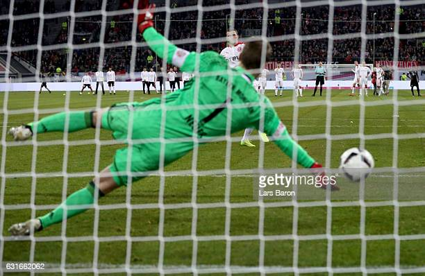 Oliver Fink of Duesseldorf misses a penalty against Manuel Neuer of Muenchen during the Telekom Cup 2017 match between Fortuna Duesseldorf and Bayern...
