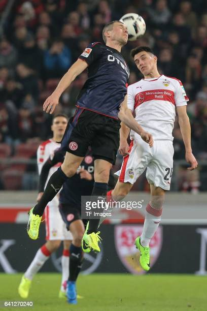 Oliver Fink of Fortuna Duesseldorf and Josip Brekalo of Stuttgart battle for the ball during the Second Bundesliga match between VfB Stuttgart and...