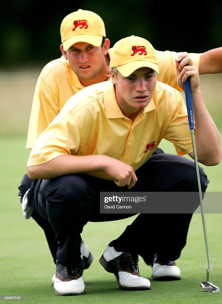 Oliver Fisher of England and his partner Matthew Richardson of England during the sunday morning foursomes matches in the 2005 Walker Cup Match at...