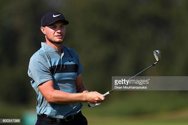 Oliver Fisher of England hits his second shot on the 9th during the first round on day one of the KLM Open at The Dutch on September 8 2016 in Spijk...