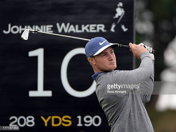 Oliver Fisher of England in action during the first round of the Johnnie Walker Championship at Gleneagles on August 22 2013 in Auchterarder Scotland