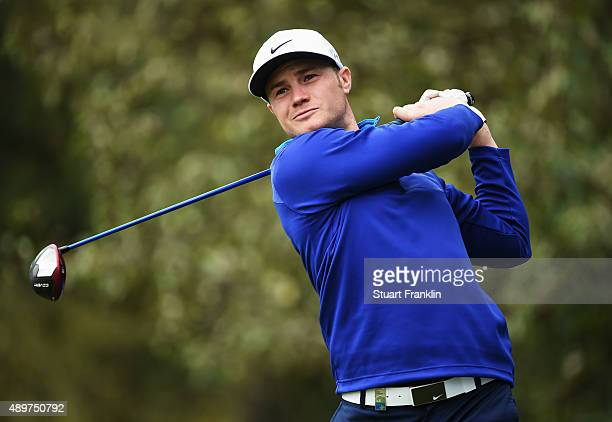 Oliver Fisher of England plays a shot during the first round of the Porsche European Open at Golf Resort Bad Griesbach on September 24 2015 in Passau...