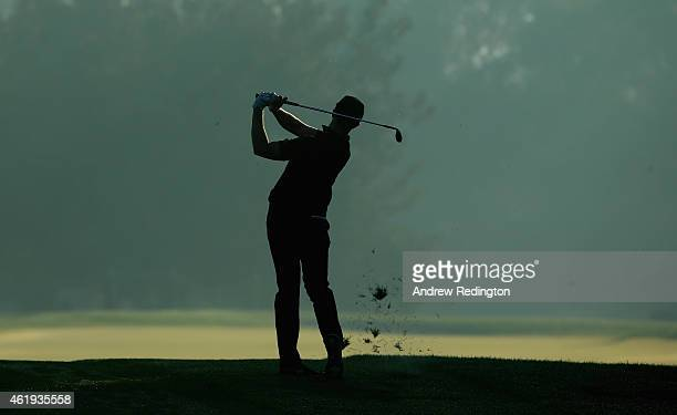 Oliver Fisher of England plays his second shot on the second hole during the second round of the Commercial Bank Qatar Masters at Doha Golf Club on...