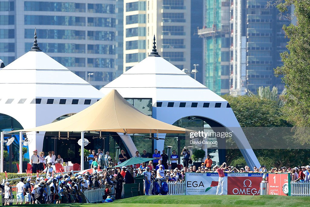 <a gi-track='captionPersonalityLinkClicked' href=/galleries/search?phrase=Oliver+Fisher&family=editorial&specificpeople=227218 ng-click='$event.stopPropagation()'>Oliver Fisher</a> of England plays his tee shot at the par 4, first hole during the third round of the 2016 Omega Dubai Desert Classic on the Majlis Course at the Emirates Golf Club on February 6, 2016 in Dubai, United Arab Emirates.