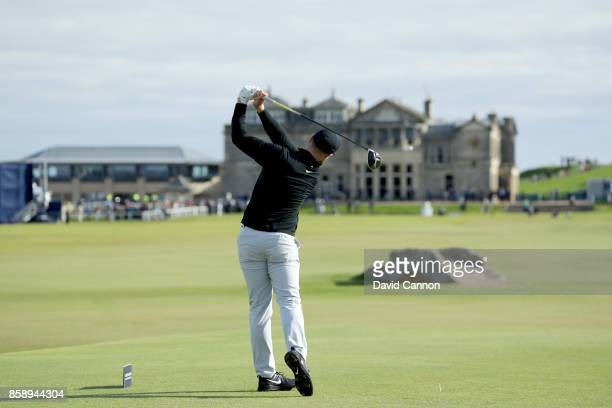 Oliver Fisher of England plays his tee shot on the 18th hole during the final round of the 2017 Alfred Dunhill Links Championship on the Old Course...