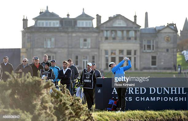 Oliver Fisher of England plays off the second tee during the first round of the 2014 Alfred Dunhill Links Championship at The Old Course on October 2...