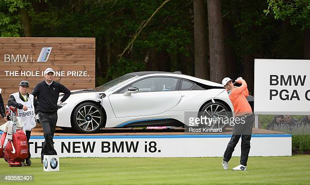 Oliver Fisher of England tees off during day three of the BMW PGA Championship at Wentworth on May 24 2014 in Virginia Water England