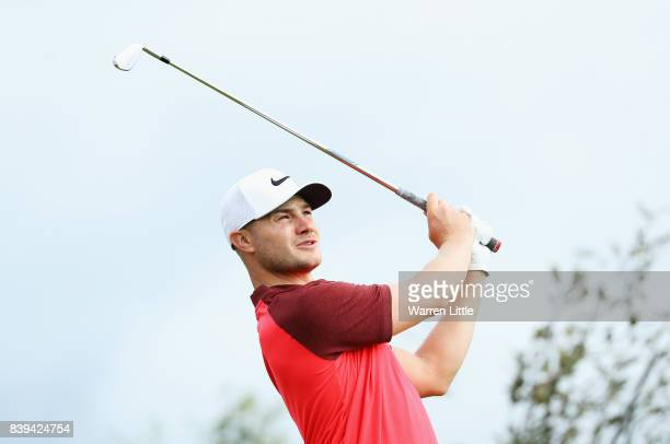 Oliver Fisher of England tees off on the 10th hole during day three of the Made in Denmark at Himmerland Golf Spa Resort on August 26 2017 in Aalborg...