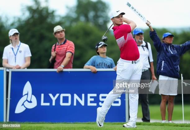 Oliver Fisher of England tees off on the 8th hole during day three of the Lyoness Open at Diamond Country Club on June 10 2017 in Atzenbrugg Austria