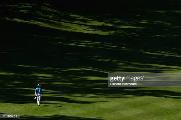 Oliver Fisher of England walks up the 12th fairway during the final round of the Czech Open 2011 at Prosper Golf Resort on August 21 2011 in Celadna...