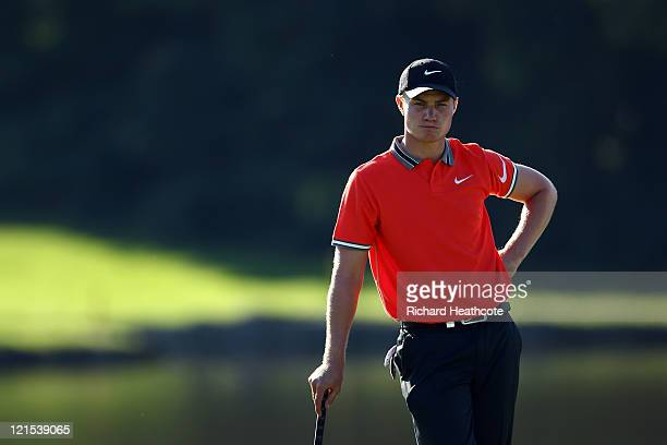 Oliver Fisher of Englandwaits to putt on the 18th green during the third round of the Czech Open 2011 at Prosper Golf Resort on August 20 2011 in...