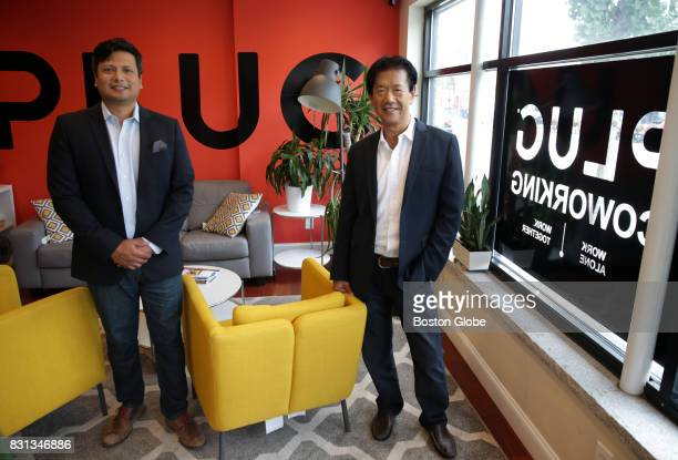 Oliver G Sanchez left CEO of Plug and COO Peter Yao pose for a portrait in Cambridge MA on Aug 10 2017 Plug is a 35seat coworking space incubator...