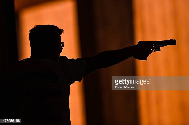 Oliver Geis of Germany competes in the Men's Pistol Shooting 25m Rapid Qualification Round during day nine of the Baku 2015 European Games at the...