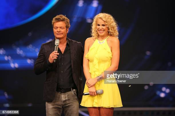 Oliver Geissen and Chanelle Wyrsch during the fourth event show and semi finals of the tv competition 'Deutschland sucht den Superstar' at Coloneum...
