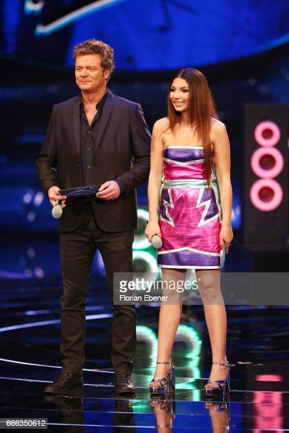 Oliver Geissen and Monique Simon during the first event show of the tv competition 'Deutschland sucht den Superstar' at Coloneum on April 8 2017 in...