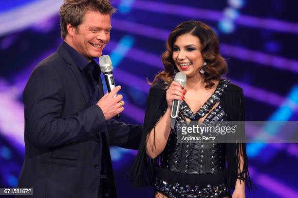 Oliver Geissen and Monique Simon during the third event show of the tv competition 'Deutschland sucht den Superstar' at Coloneum on April 22 2017 in...