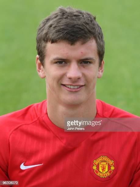 Oliver Gill of Manchester United's Academy poses during a preseason photocall at Carrington Training Ground on August 16 2008 in Manchester England