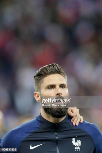 Oliver Giroud of France during the National anthem before the FIFA 2018 World Cup Qualifier between France and Belarus at Stade de France on October...