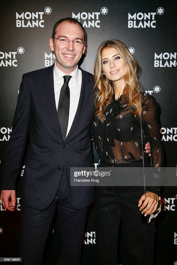 Oliver Goessler and <a gi-track='captionPersonalityLinkClicked' href=/galleries/search?phrase=Cathy+Hummels&family=editorial&specificpeople=8685062 ng-click='$event.stopPropagation()'>Cathy Hummels</a> attend the Montblanc House Opening on February 09, 2016 in Hamburg, Germany.
