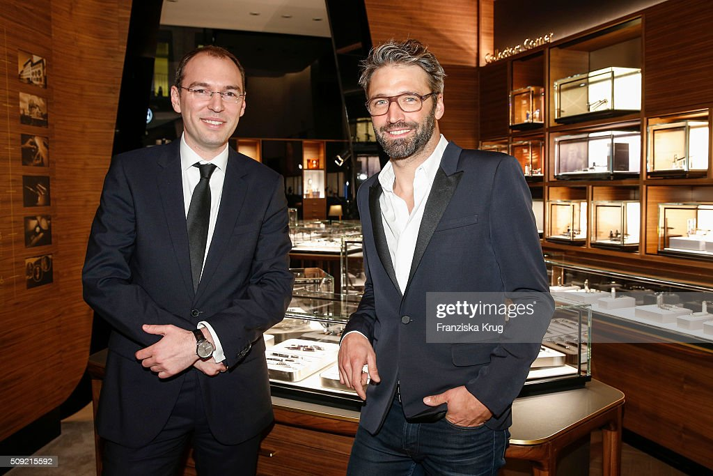 Oliver Goessler, Noe Duchaufour-Lawrance attend the Montblanc House Opening on February 09, 2016 in Hamburg, Germany.
