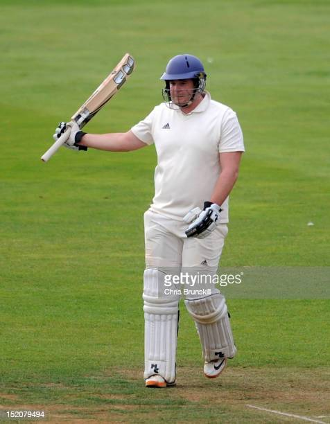 Oliver Hairs of York celebrates reaching his fifty during the Kingfisher Beer Cup Final between York and Wanstead Snaresbrook at The County Ground on...