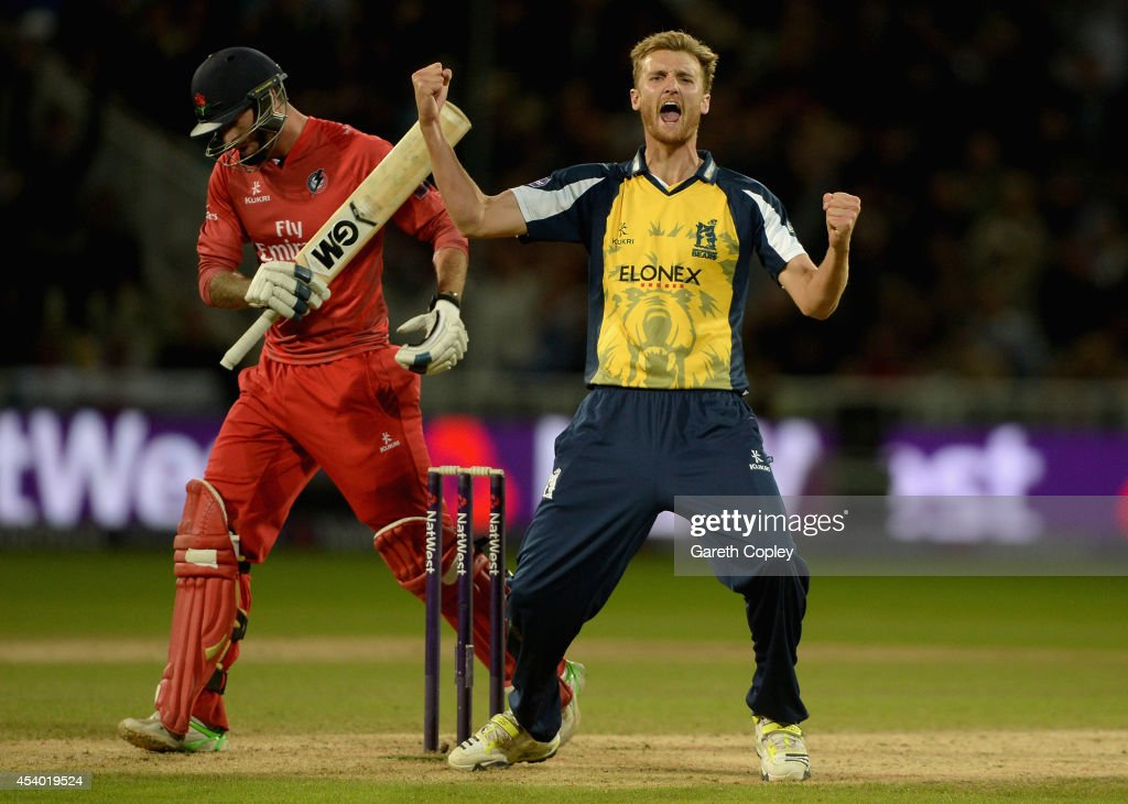 Oliver Hannon-Dalby of Birmingham Bears celebrates dismissing Jordan Clark of Lancashire during the Natwest T20 Blast final between Lancashire Lighting and Birmingham Bears at Edgbaston on August 23, 2014 in Birmingham, England.
