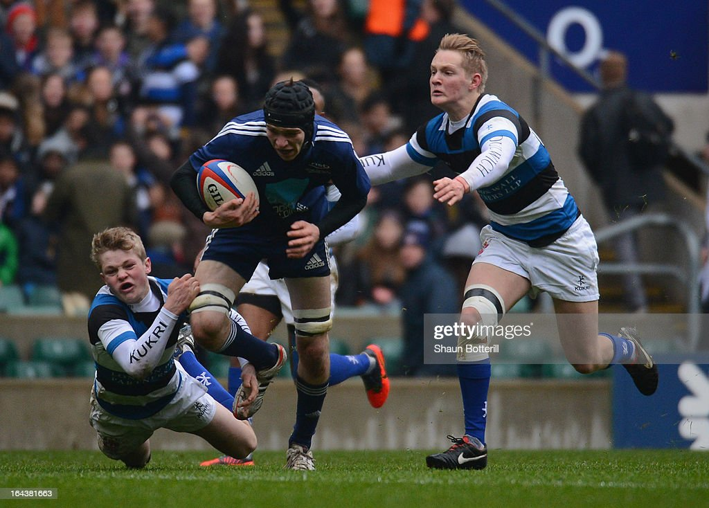 Oliver Hartfield of Northampton School for Boys breaks through to score during the Daily Mail RBS Schools' Day Under 18 Cup Final between Dulwich College and Northampton School for Boys at Twickenham Stadium on March 23, 2013 in London, England.
