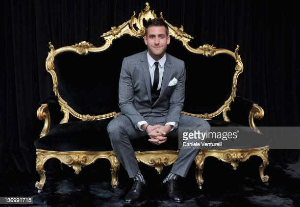 Oliver JacksonCohen poses in the VIP room at the Dolce Gabbana show as part of the Milan Fashion Week Menswear Autumn/Winter 2012 at Metropol on...