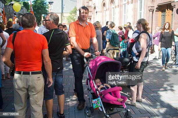 Oliver Junk Mayor of the central German town of Goslar attends a counterdemonstration against outoftown neoNazis who had come to protest against...