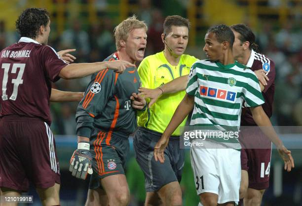 Oliver Kahn and Liedson during a UEFA Champions League match between Bayern Munich and Sporting Lisbon at Jose Alvalade Stadium in Lisbon Portugal on...