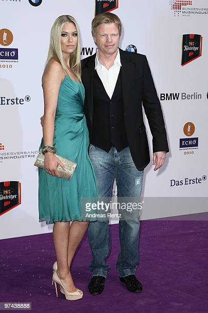 Oliver Kahn and partner Svenja arrive for the Echo award 2010 at Messe Berlin on March 4 2010 in Berlin Germany