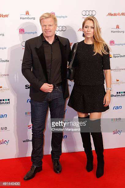 Oliver Kahn and partner Svenja Kahn attend the Deutscher Sportjournalistenpreis 2015 at Grand Elysee Hotel on October 5 2015 in Hamburg Germany