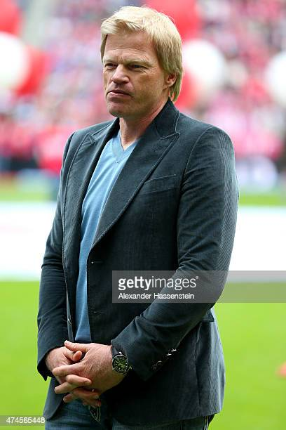 Oliver Kahn looks on prior to the Bundesliga match between FC Bayern Muenchen and 1 FSV Mainz 05 at the Allianz Arena on May 23 2015 in Munich Germany