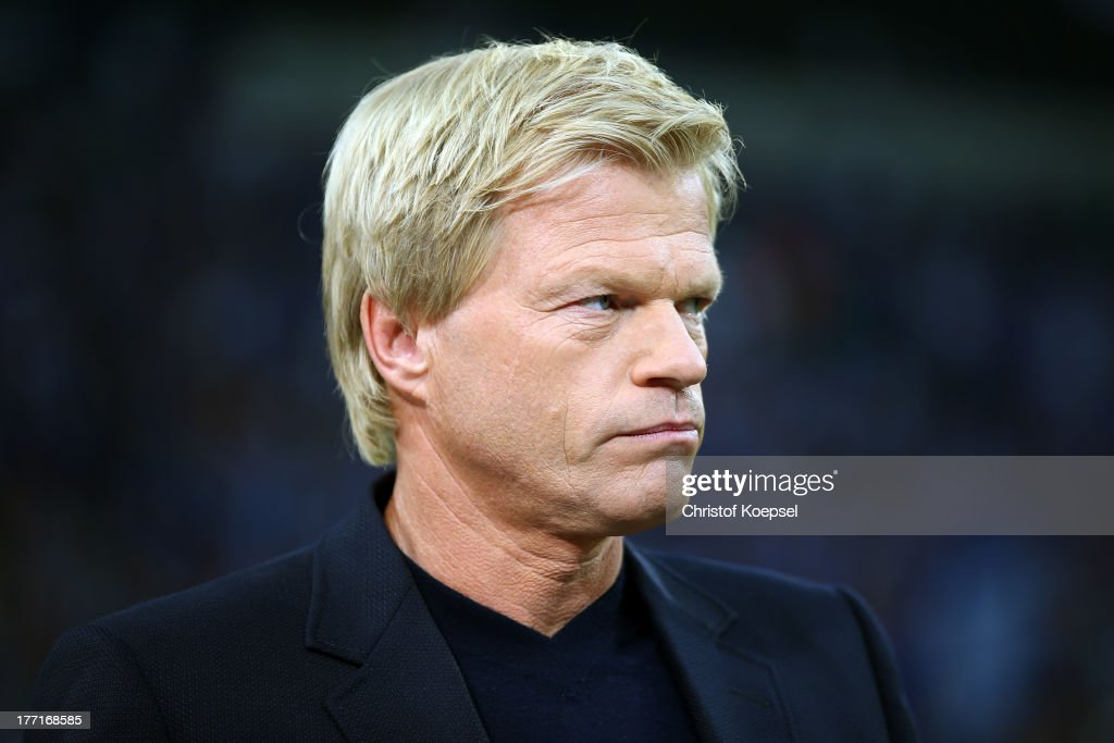 Oliver Kahn looks on prior to the UEFA Champions League Play-off first leg match between FC ... Show more - oliver-kahn-looks-on-prior-to-the-uefa-champions-league-playoff-first-picture-id177168585