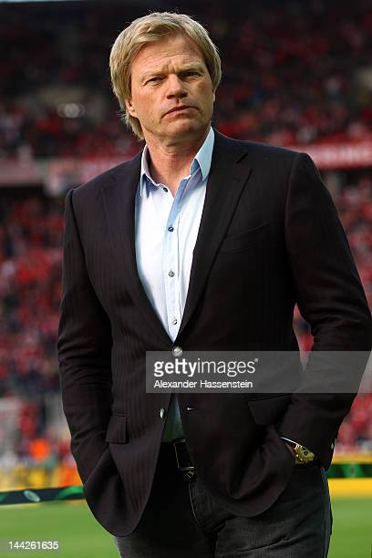 Oliver Kahn looks on the DFB Cup final match between Borussia Dortmund and FC Bayern Muenchen at Olympic Stadium on May 12 2012 in Berlin Germany