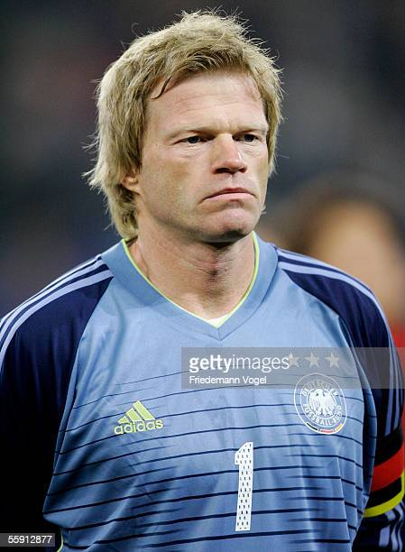Oliver Kahn of Germany before the friendly game between Germany and China at the AOL Arena on October 12 2005 in Hamburg Germany