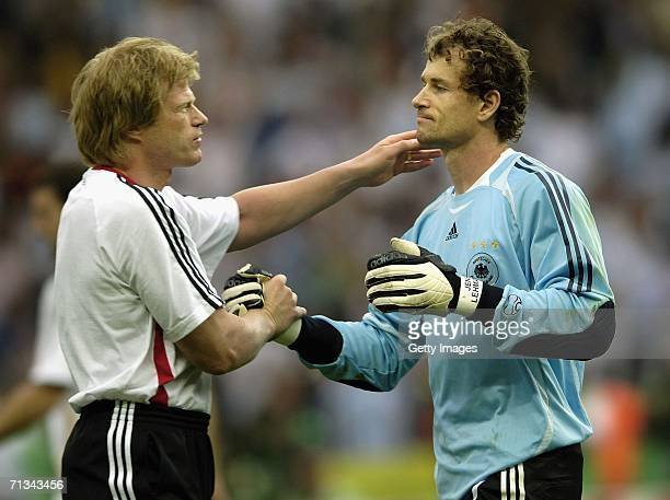 Oliver Kahn of Germany congratulates German goalkeeper Jens Lehmann after the FIFA World Cup Germany 2006 Quarterfinal match between Germany and...