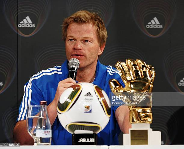 Oliver Kahn takes part in a press conference during the adidas Penalty Day at the Jo'bulani Centre on June 25 2010 in Sandton South Africa