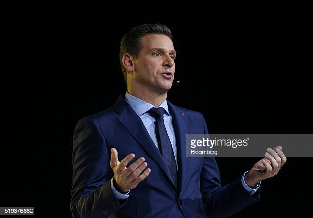 Oliver Kaltner chief executive officer of Leica Camera AG speaks at the launch event of the Huawei Technologies Co P9 smartphone in London UK on...