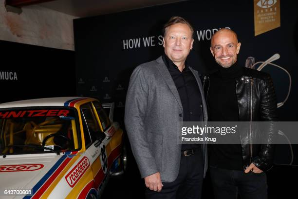 Oliver Kastalio CEO Rodenstock and Peyman Amin attend the Rodenstock Exhibition Opening Event at Museum of Urban and Contemporary Art in Munich on...