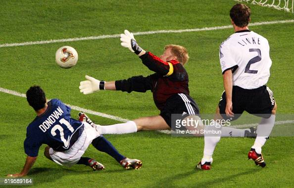 Oliver Khan of Germany makes a save during the FIFA World Cup Korea/Japan quarter final match between Germany and United States at the Ulsan Munsu...