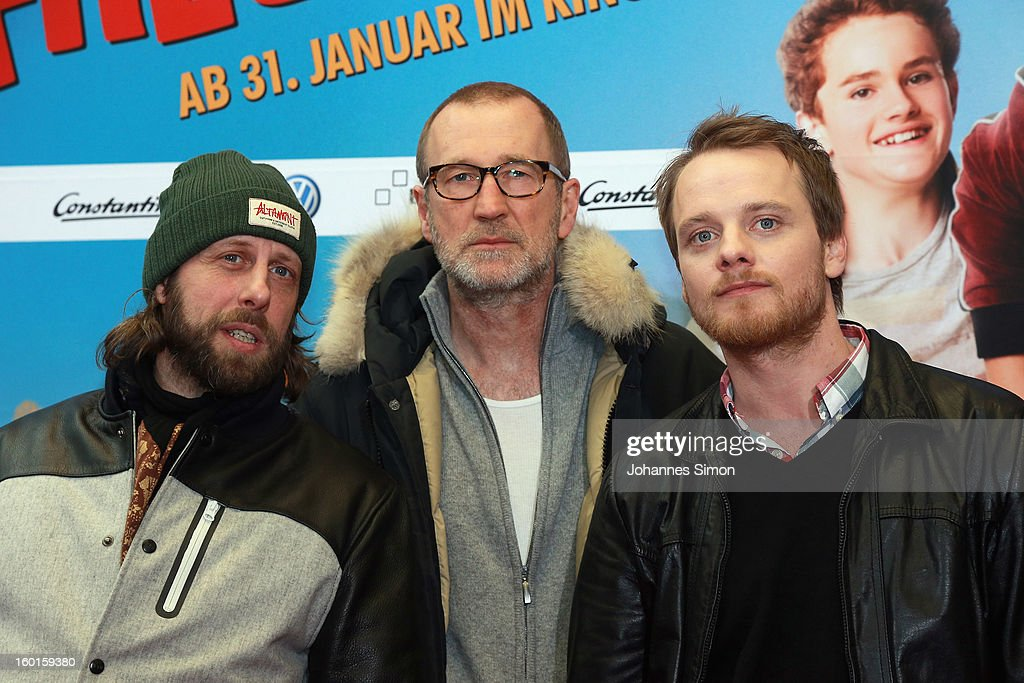 Oliver Korittke, Peter Lohmeyer and Stefan Konarske arrive for the 'Fuenf Freunde 2' movie premiere at CineMaxx Cinema on January 27, 2013 in Munich, Germany.