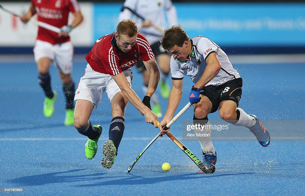 Oliver Korn of Germany and David Ames of Great Britain during the FIH Mens Hero Hockey Champions Trophy match between Great Britain and Germany at...