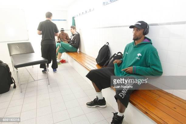 Oliver Lafayette #20 of Unicaja Malaga in the dressing room prior the 20162017 7Days Eurocup Finals Leg 1 Valencia Basket v Unicaja Malaga at...