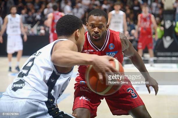 Oliver Lafayette of EA7 competes with Abdul Gaddy of Obiettivo Lavoro during the LegaBasket match between Virtus Obiettivo Lavoro and EA7 Emporio...