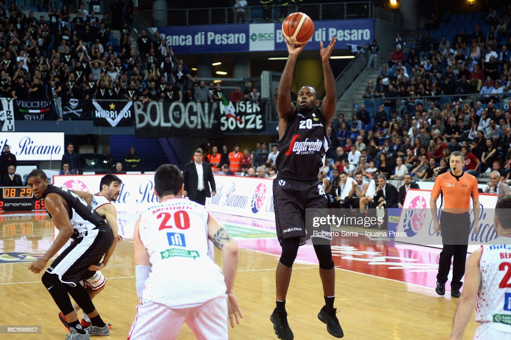 Oliver Lafayette of Segafredo competes with Andrea Ancelotti of VL during the LBA LegaBasket match between VL Victoria Libertas Pesaro and Virtus Segafredo Bologna at Adriatic Arena on October 14, 2017 in Pesaro, Italy.